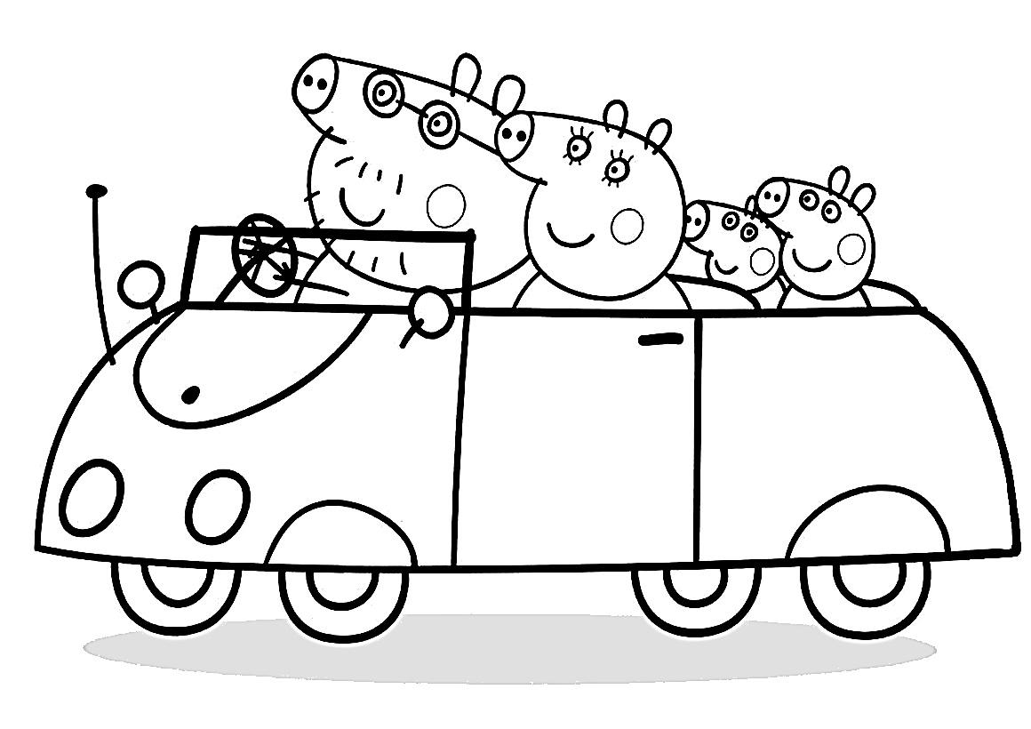 Раскраска Пеппа с семьёй на машине распечатать или скачать ...