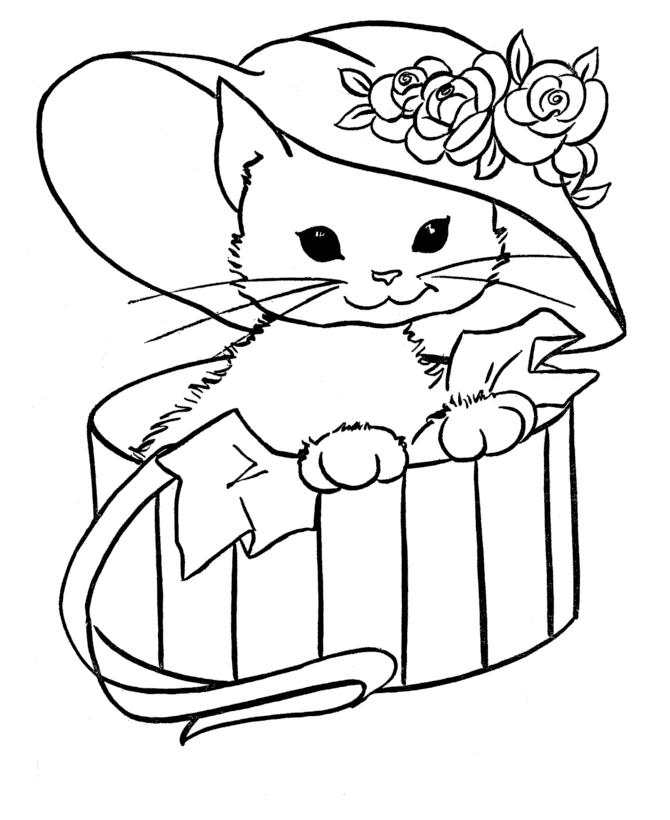 Раскраска Кошечка в шляпе распечатать или скачать бесплатно