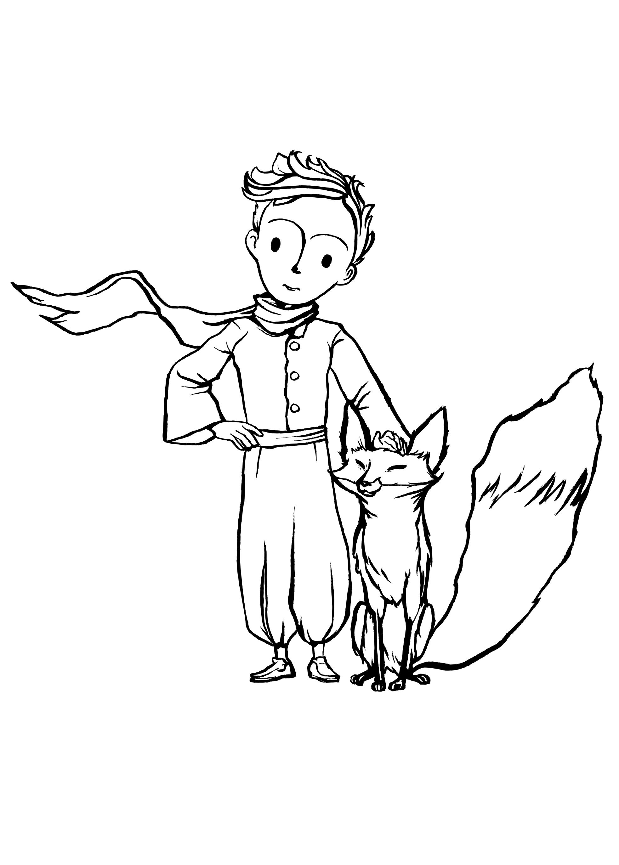 Раскраска Маленький принц и Лис распечатать или скачать ...