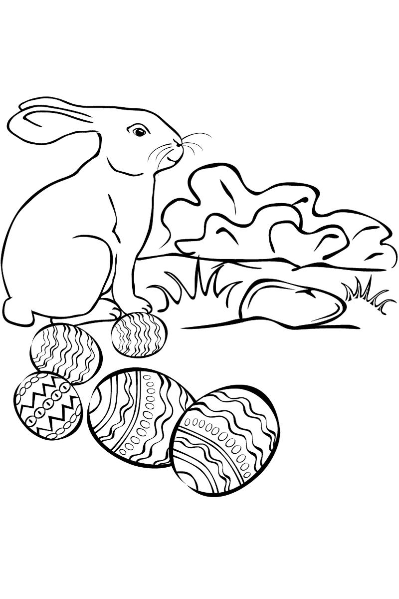 раскраска кролик и пасхальные яйца распечатать или скачать