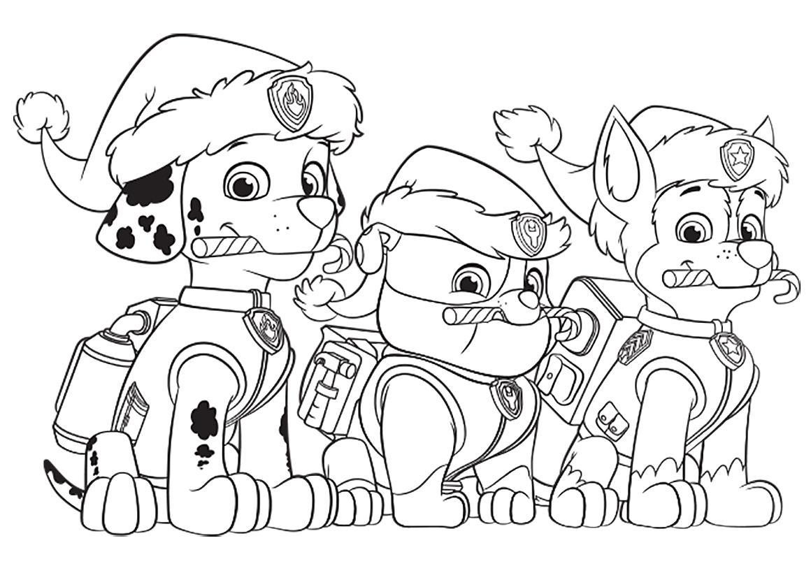 Раскраска Щенячий патруль на Новый год распечатать или ...