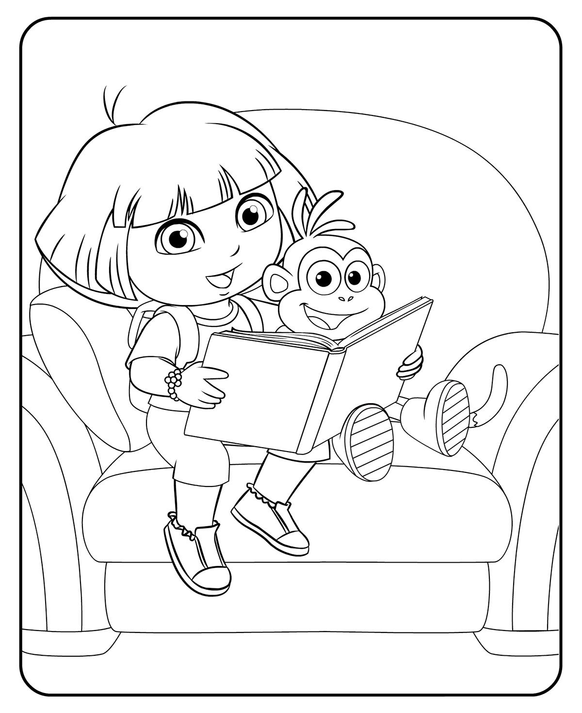 Раскраска Даша читает книгу про Алису распечатать или ...