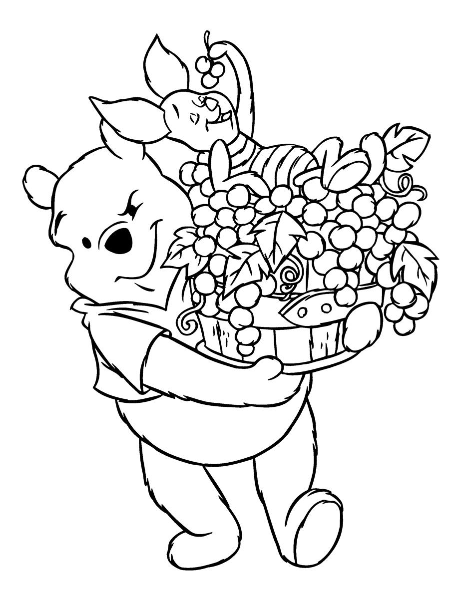 Раскраска Сбор урожая с Винни-Пухом распечатать или ...