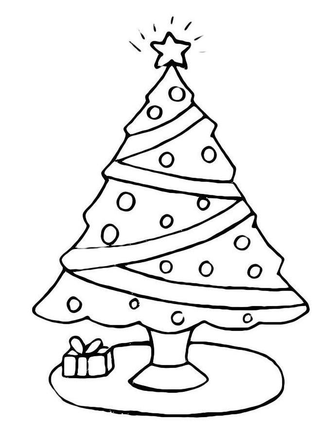 Раскраска Скромная елка с небольшим подарком распечатать ...