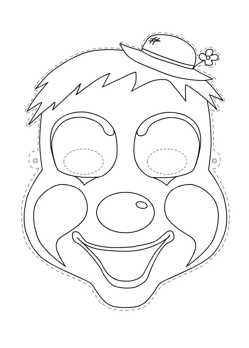 Раскраска Маска клоун распечатать или скачать бесплатно