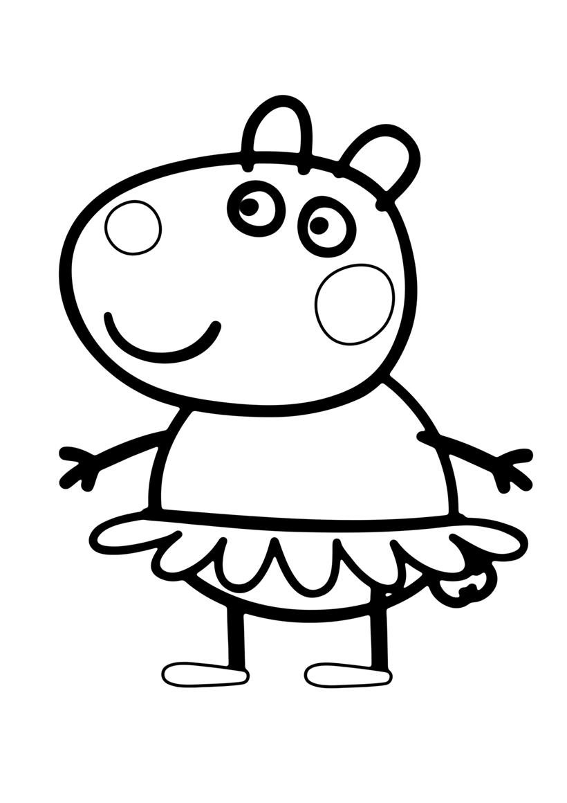 Раскраска Сьюзи - лучшая подруга Пеппы распечатать или ...