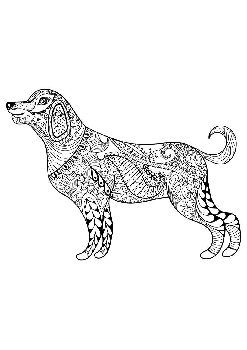 Раскраска Зентангл собака распечатать или скачать бесплатно