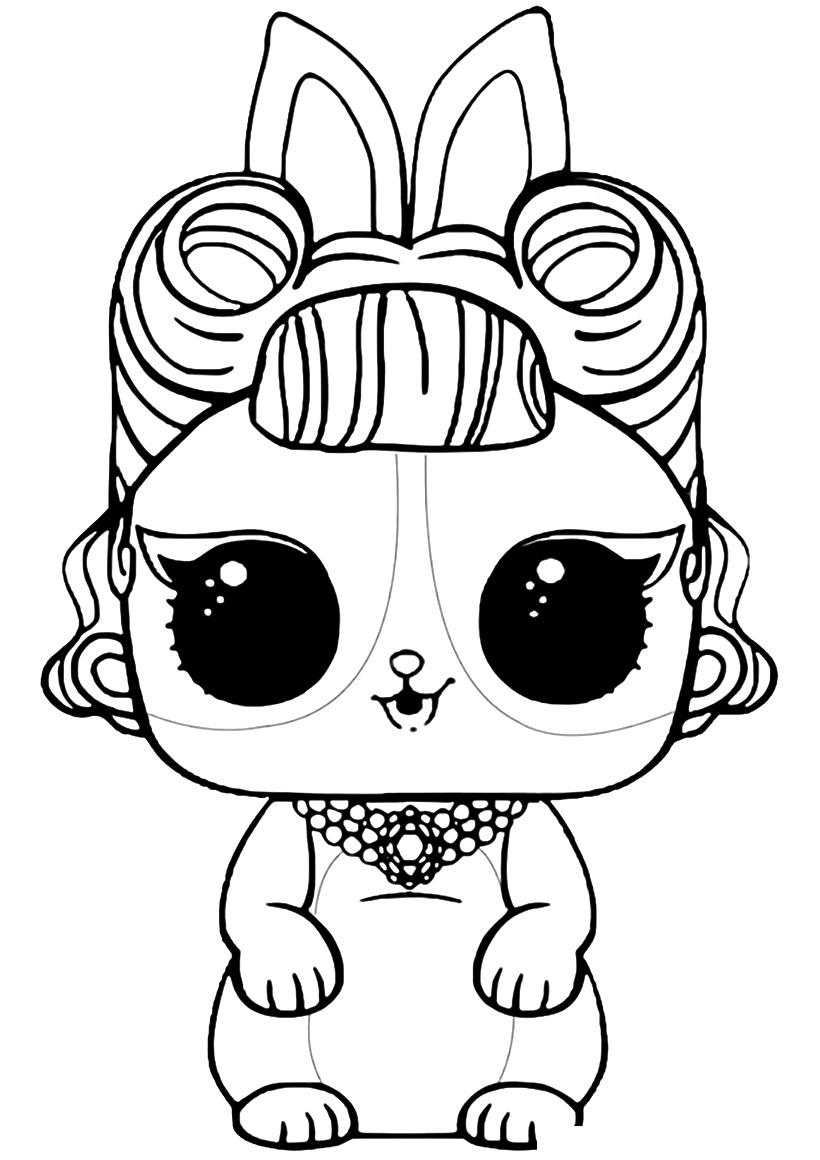 Раскраска ЛОЛ питомец крольчёнок Паникёр распечатать или ...