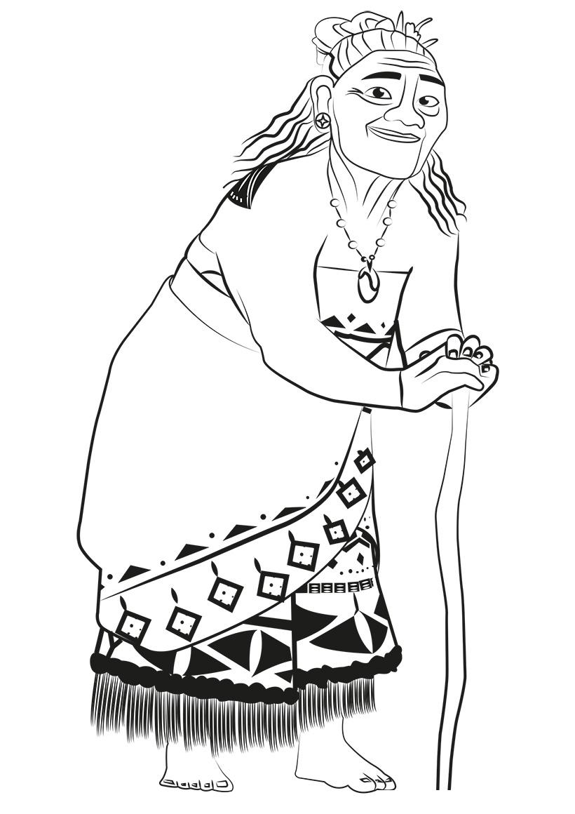 Раскраска Тала (бабушка Моаны) распечатать или скачать ...