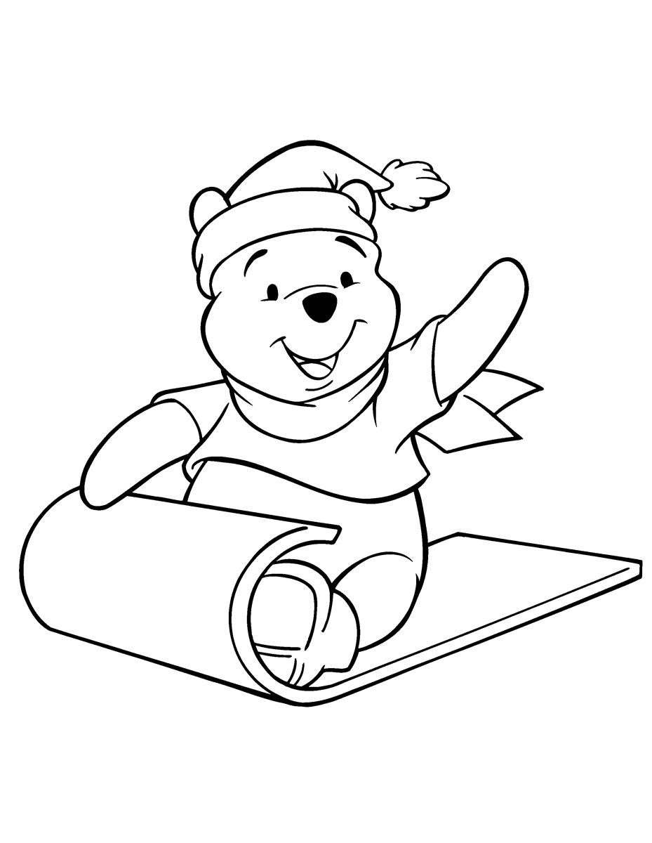 Раскраска Винни Пух зимой на санках распечатать или ...