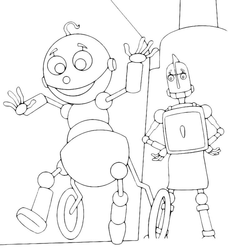 Раскраска Маленький робот с мамой распечатать или скачать ...