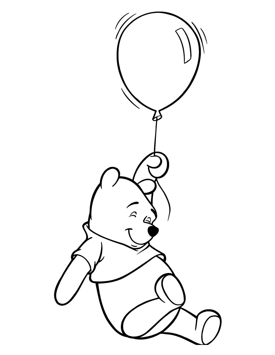 Раскраска Винни Пух с воздушным шариком распечатать или ...