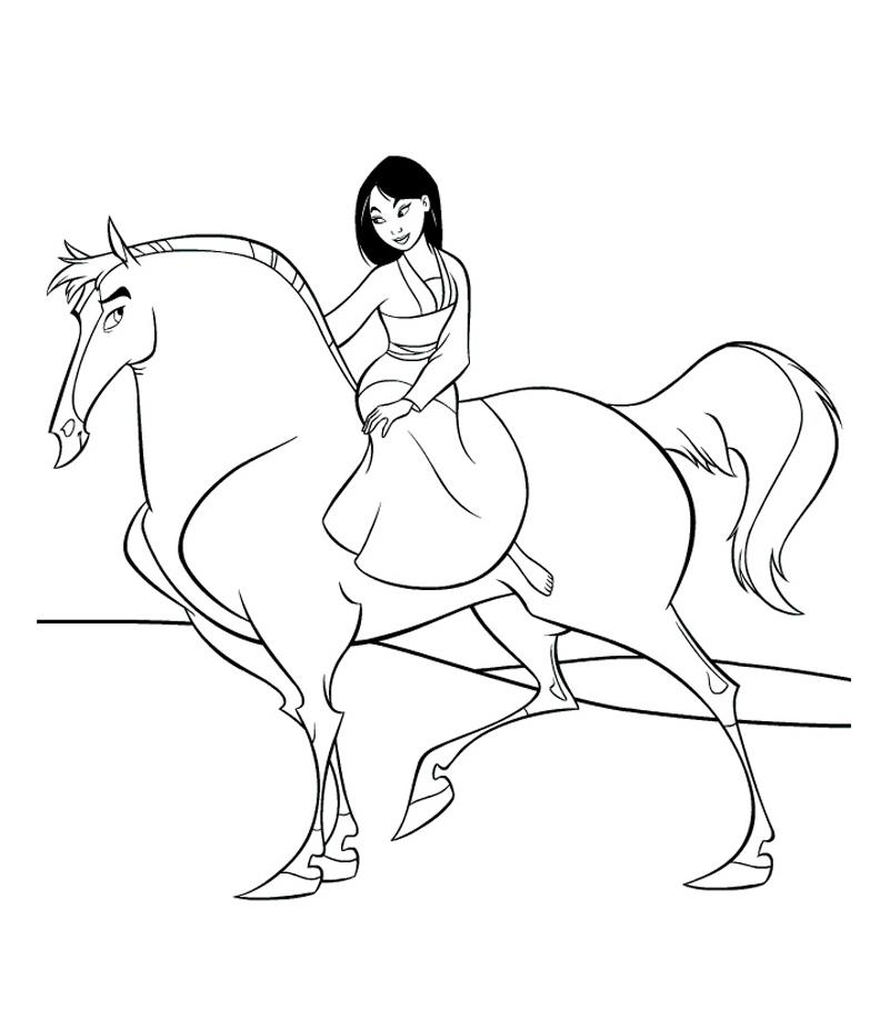 раскраска фа мулан на лошади распечатать или скачать бесплатно