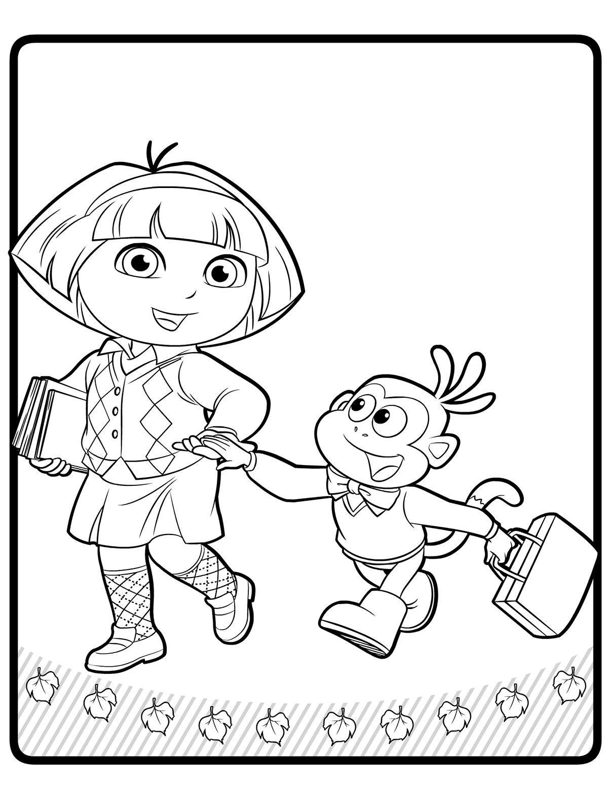 Раскраска Даша-путешественница идёт в школу распечатать ...