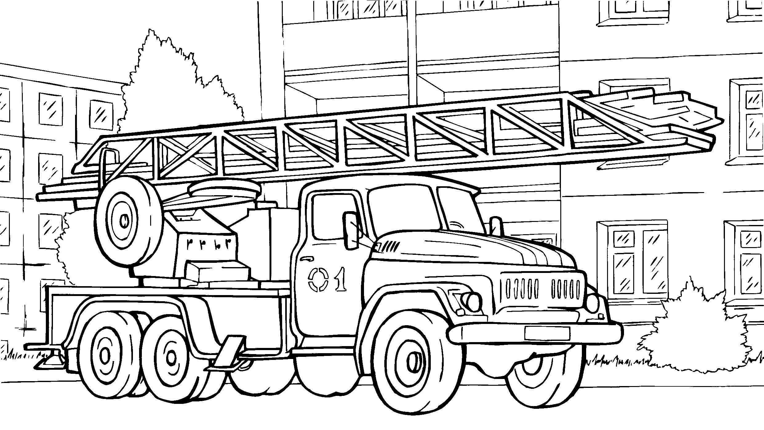 Раскраска Пожарная машина распечатать или скачать бесплатно