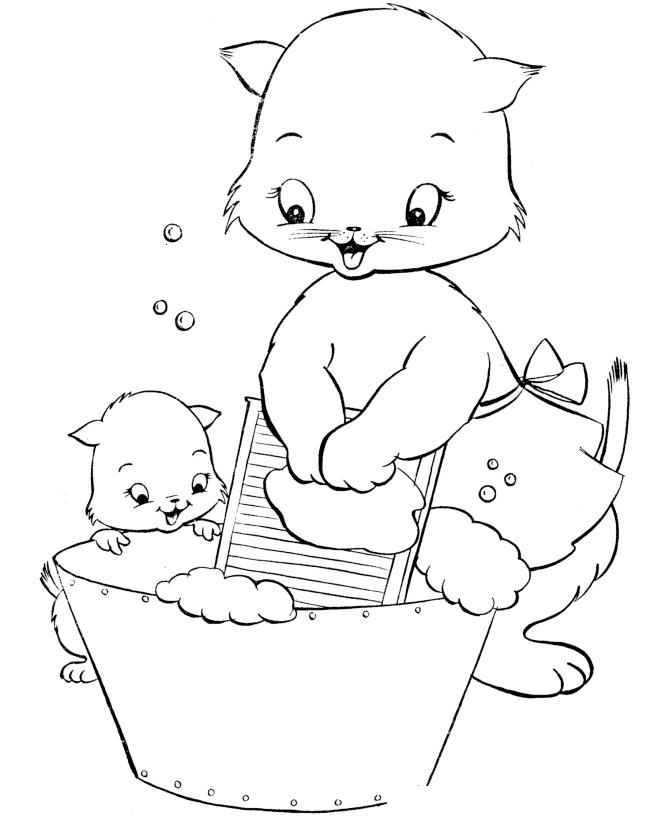 Раскраска Мама-кошка и дочка-котенок распечатать или ...