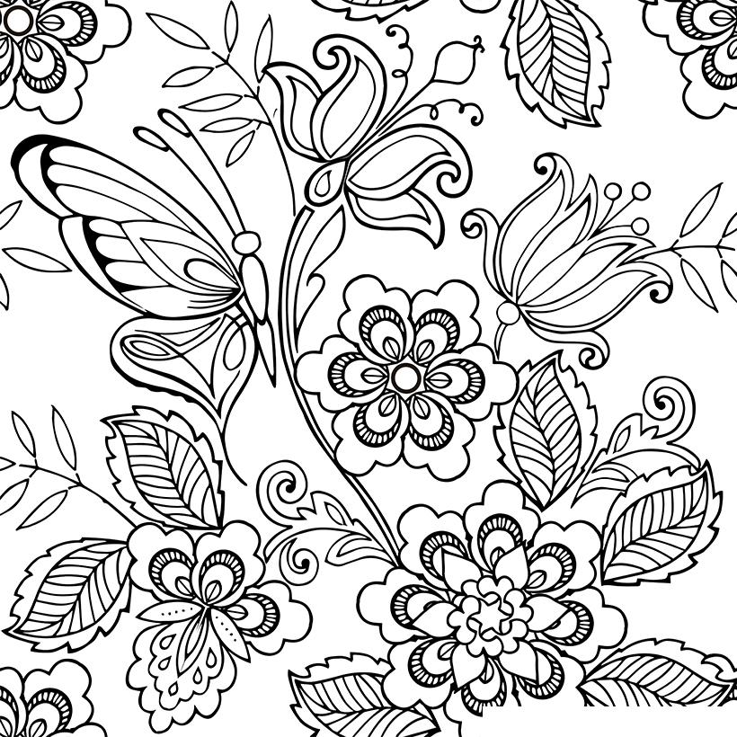 Раскраска Антистресс Бабочки и цветы распечатать или ...