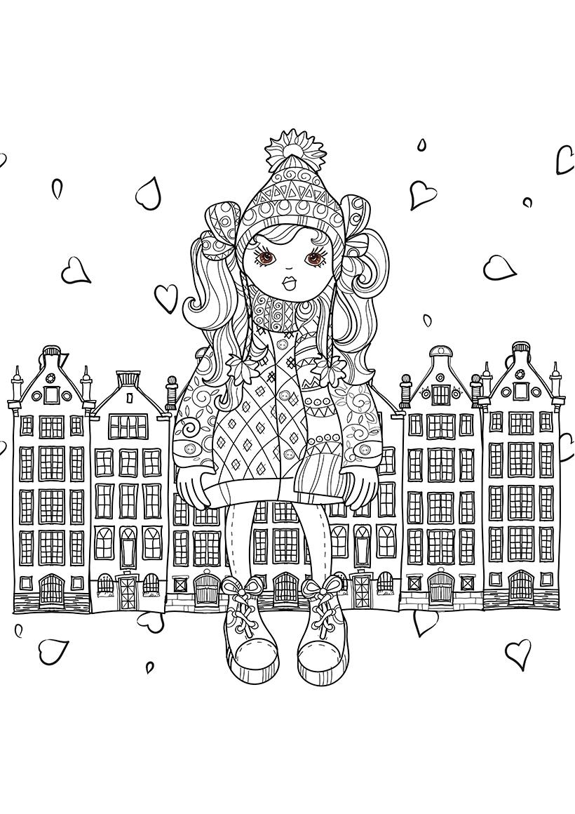 раскраска арт терапия девочка в городе распечатать или