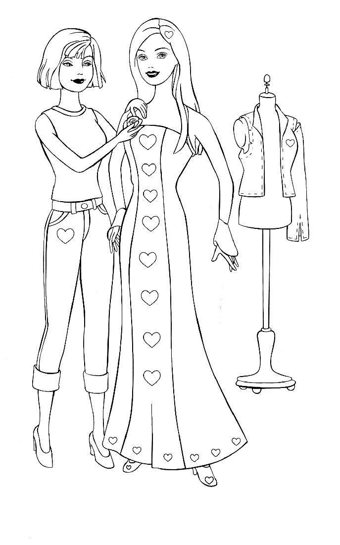 Раскраска Новое платье Барби распечатать или скачать бесплатно