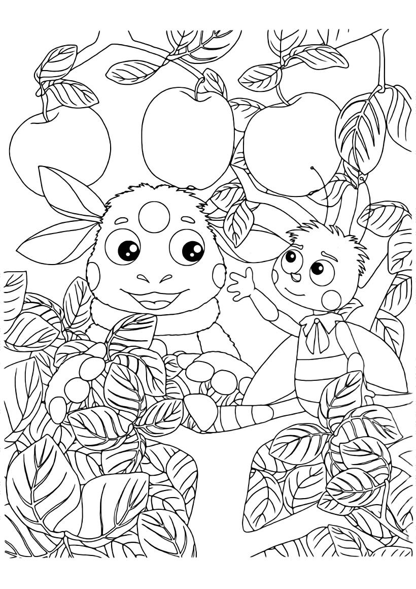 Раскраска Лунтик и Пчелёнок на яблоне распечатать или ...