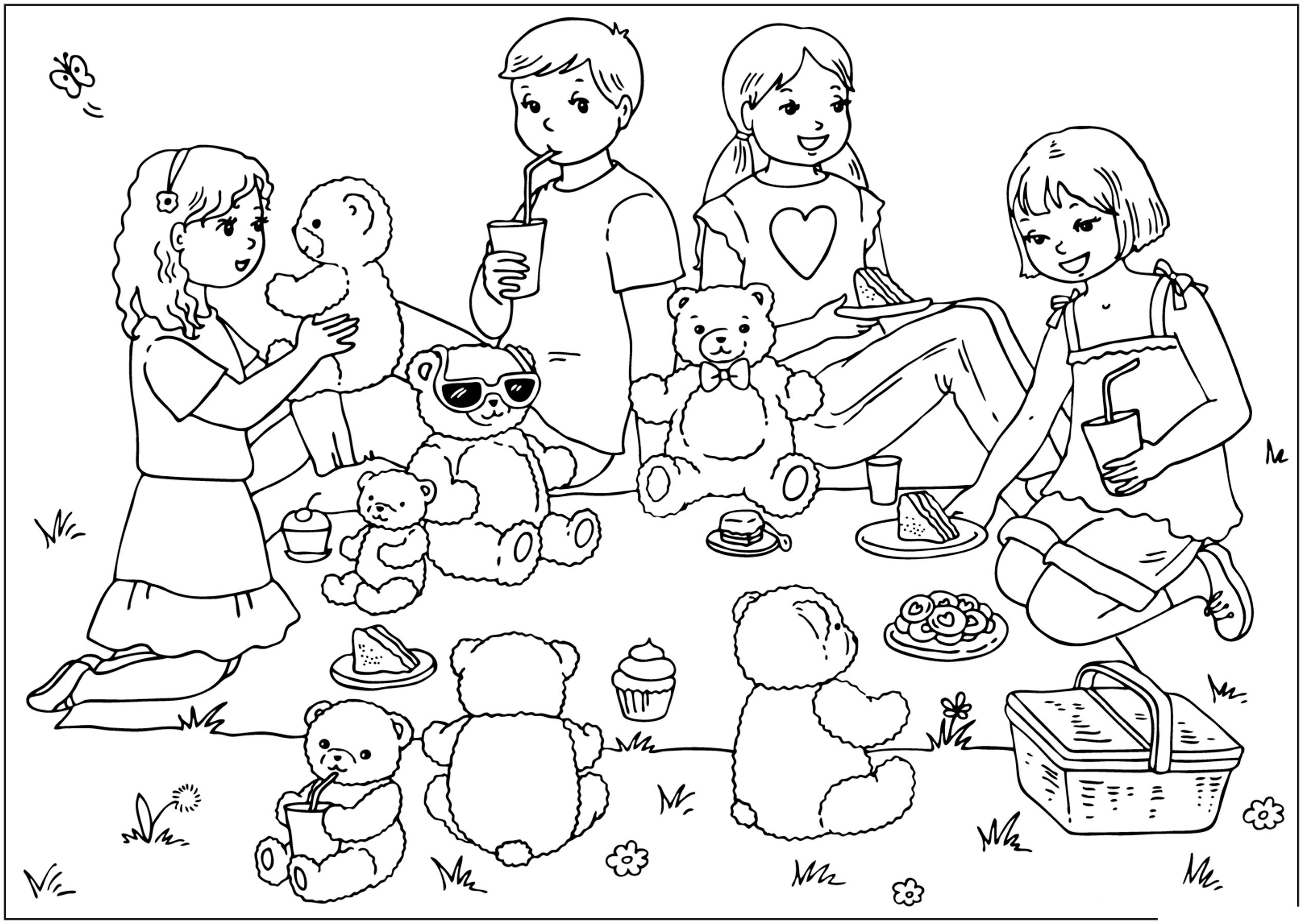 Картинки игры детей в детском саду черно белые