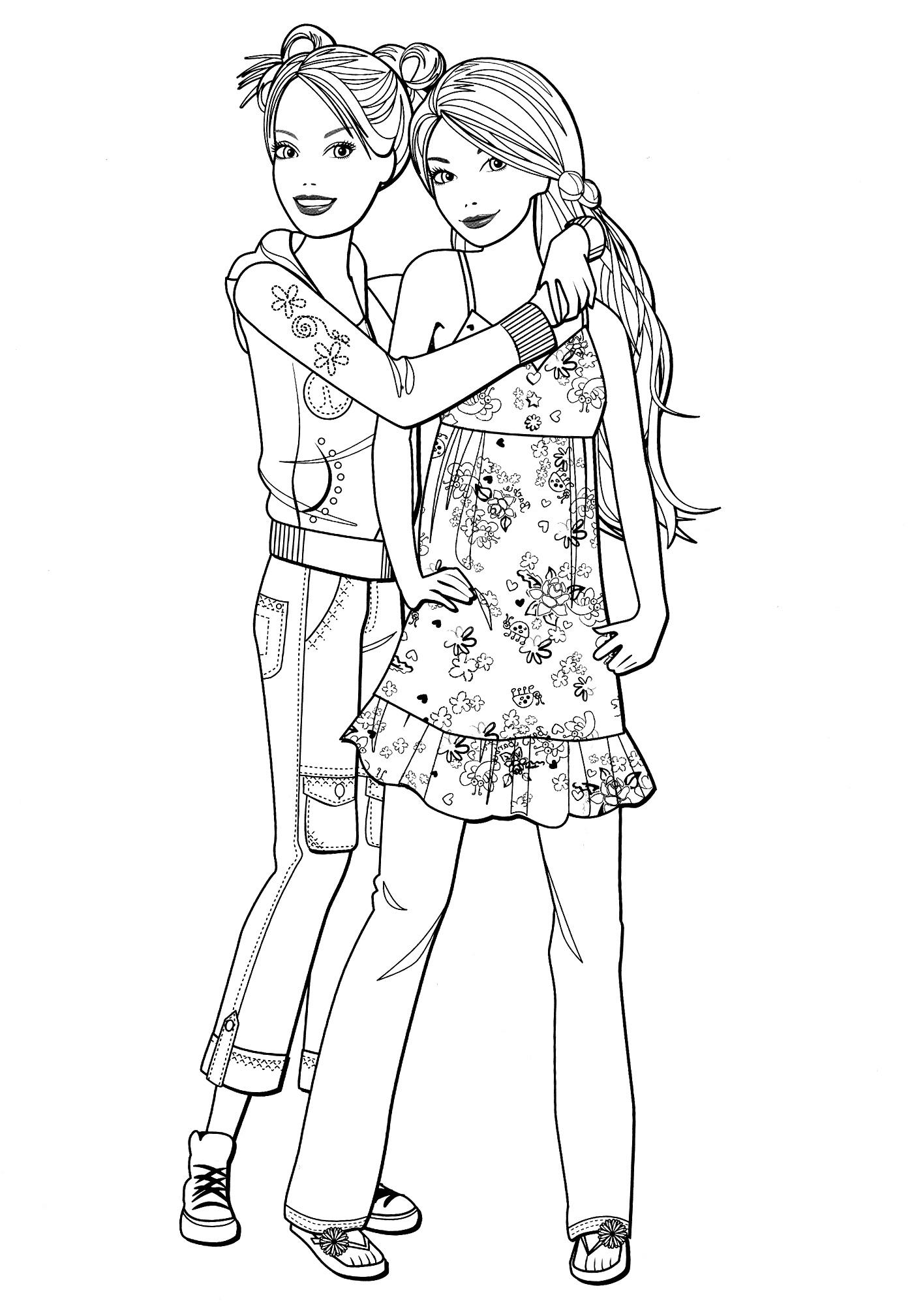 Раскраска Барби с любимой подружкой распечатать или ...