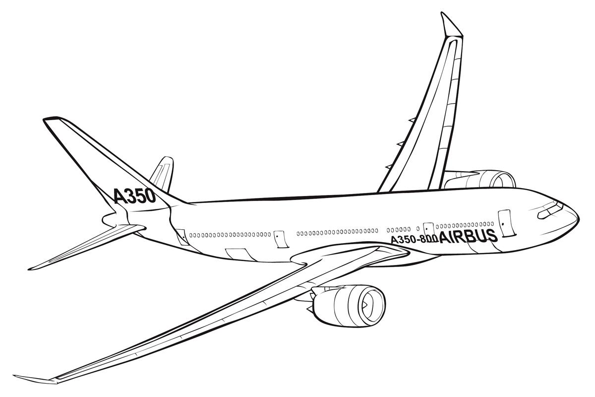 раскраска самолет Airbus A350 распечатать или скачать бесплатно