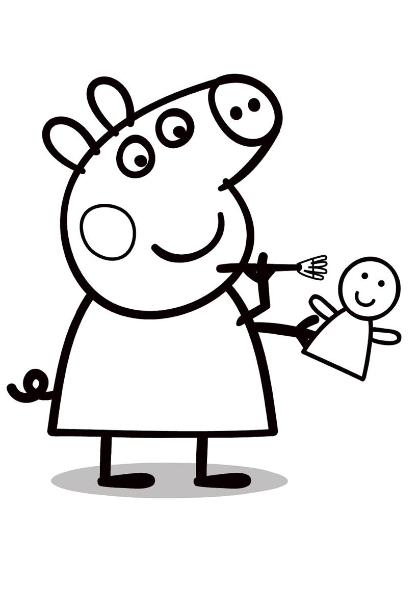 Раскраска Свинка Пеппа с куклой распечатать или скачать ...