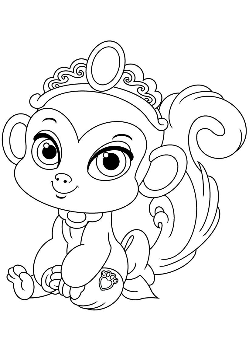Раскраска Питомец Жасмин обезьянка Найл распечатать или ...