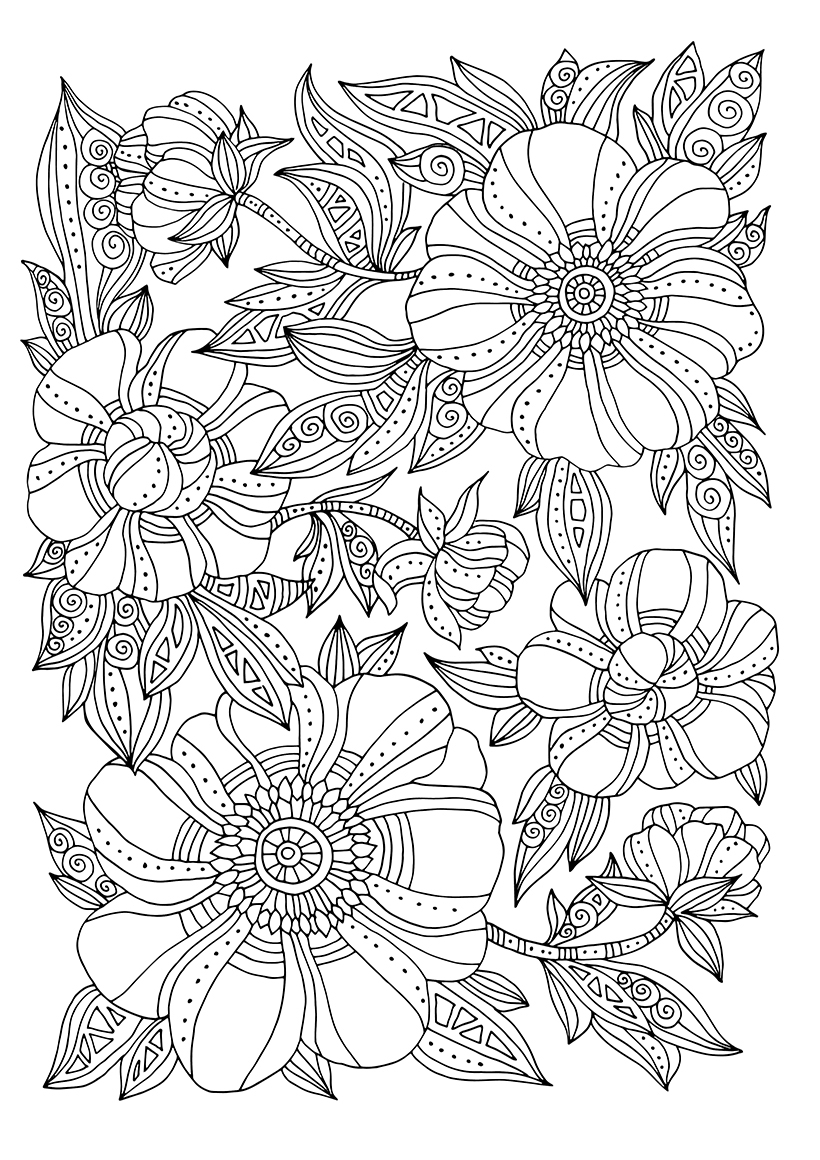 Раскраска Арт-терапия Зентангл цветы распечатать или ...