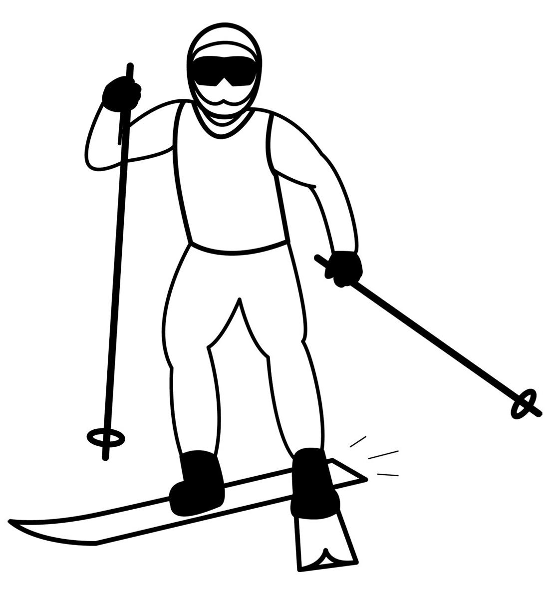 Лыжник рисунки детей