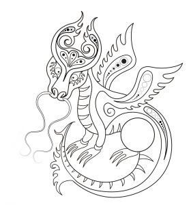 Раскраска Влюбленный дракон распечатать или скачать бесплатно