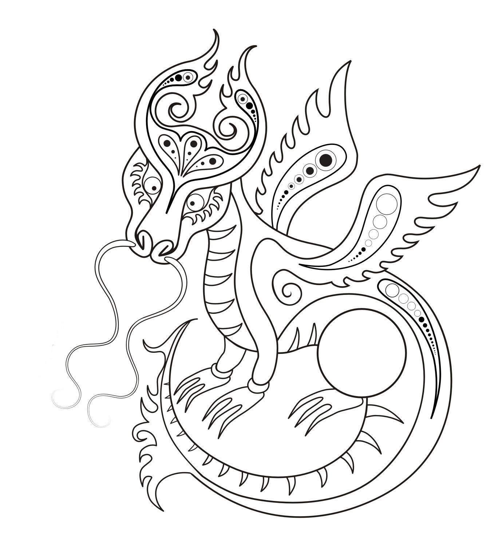 Раскраска Сказочный дракон распечатать или скачать бесплатно