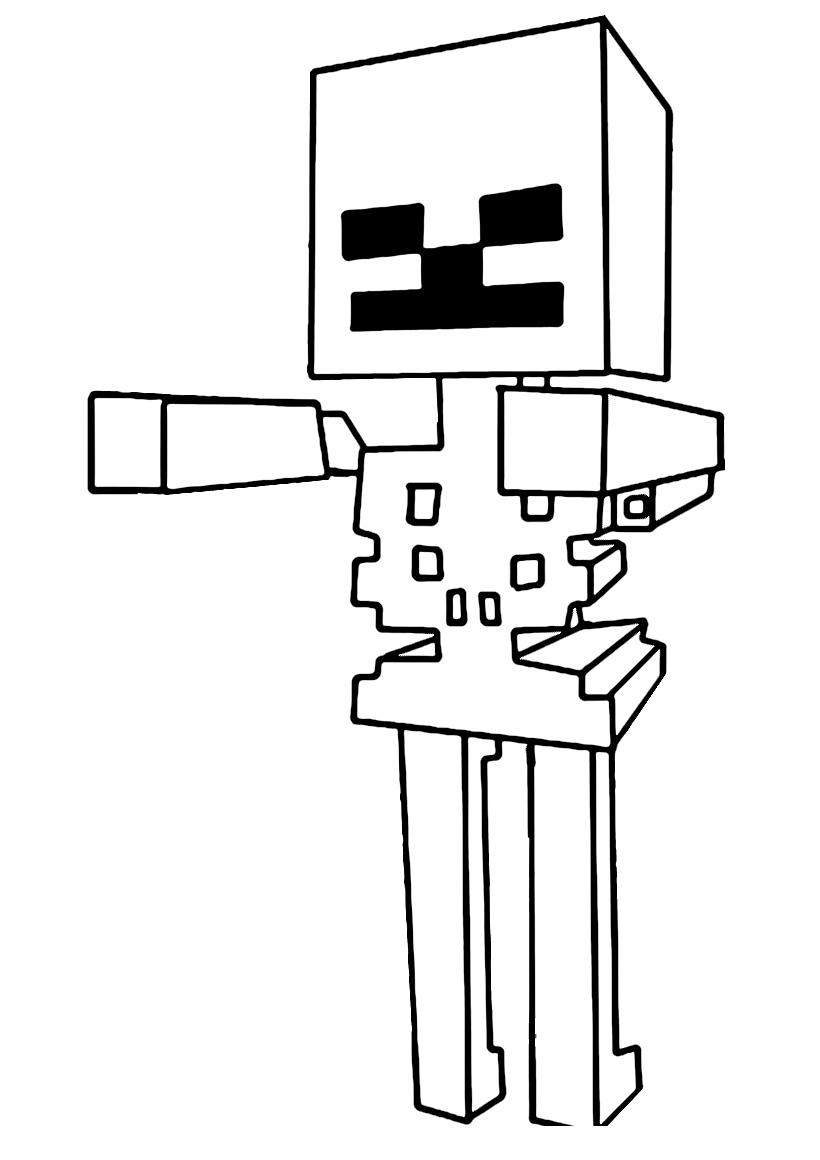 Раскраска Скелет из Майнкрафт распечатать или скачать ...
