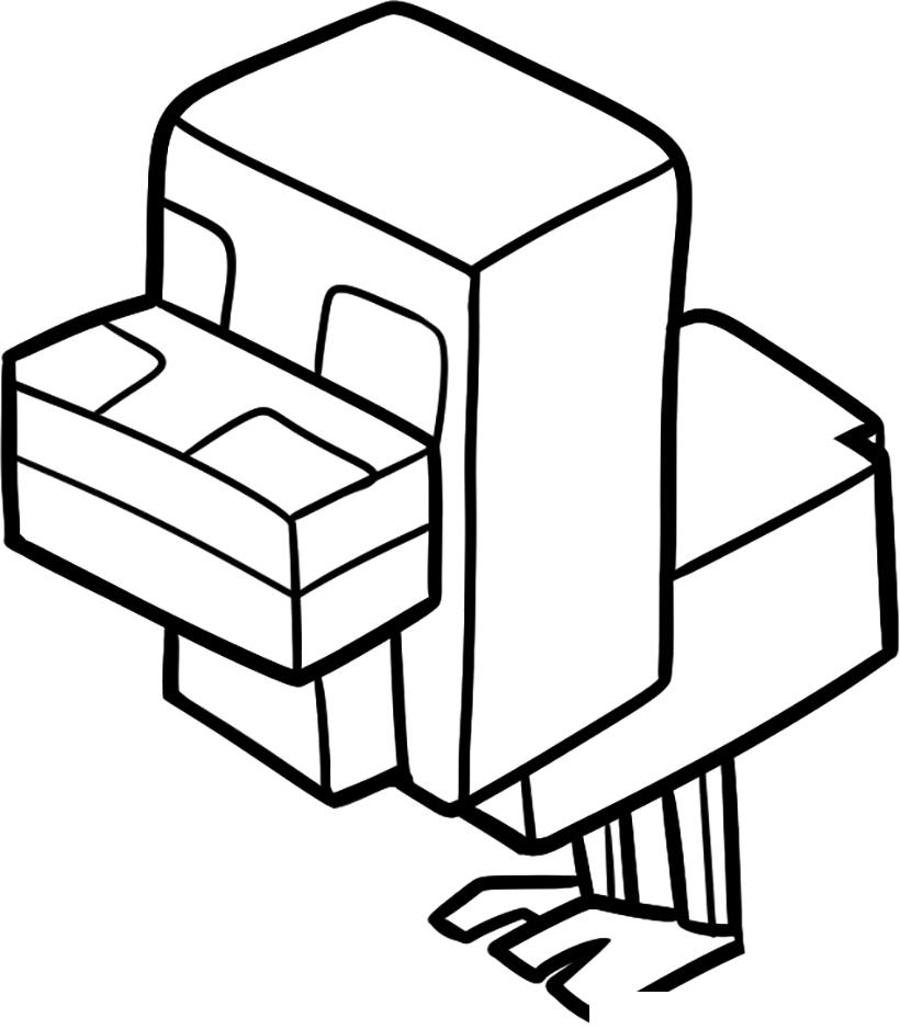 Раскраска Цыплёнок из Майнкрафт распечатать или скачать ...