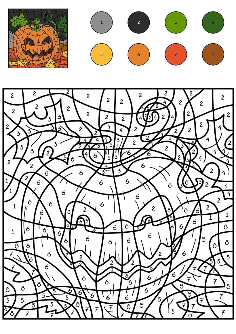 Раскраска Тыква на Хэллоуин по цифрам распечатать или ...