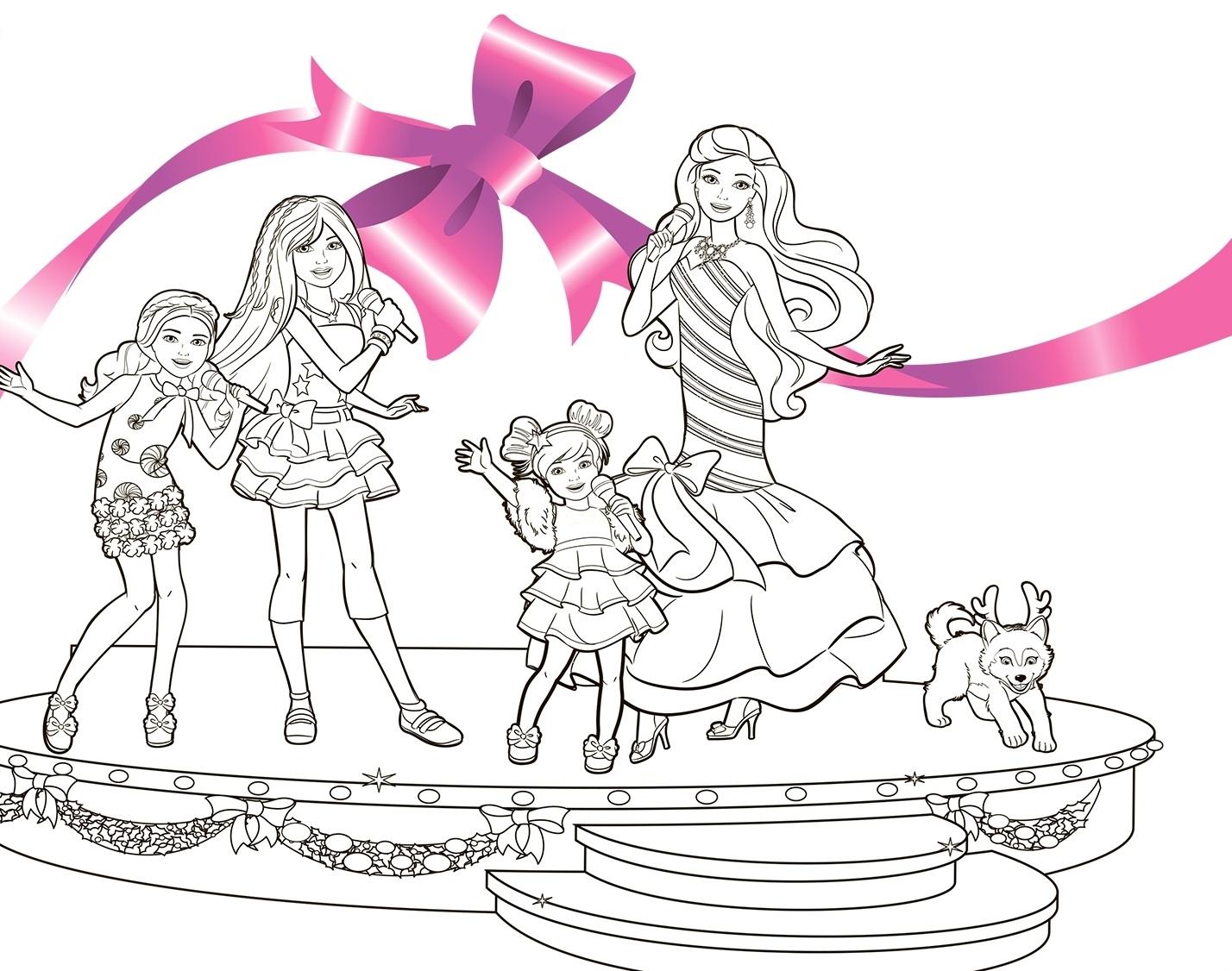 Раскраска Семья Барби распечатать или скачать бесплатно