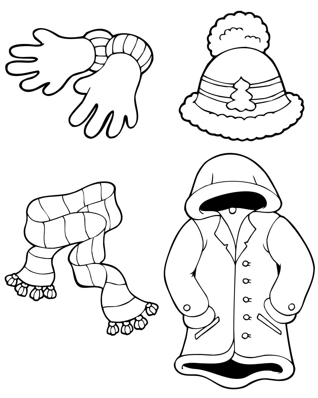 Раскраска Зимняя одежда распечатать или скачать бесплатно