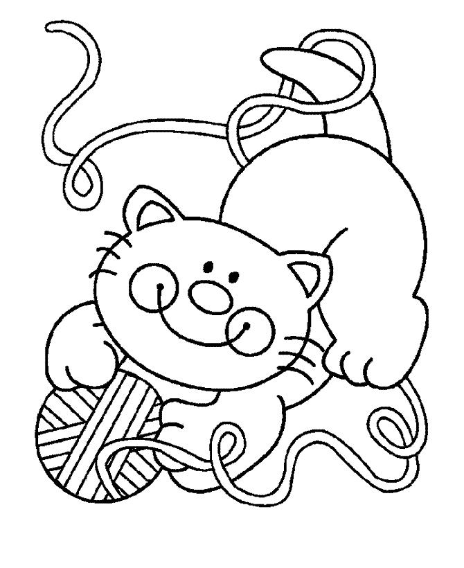 Раскраска Котенок играет с нитками распечатать или скачать ...