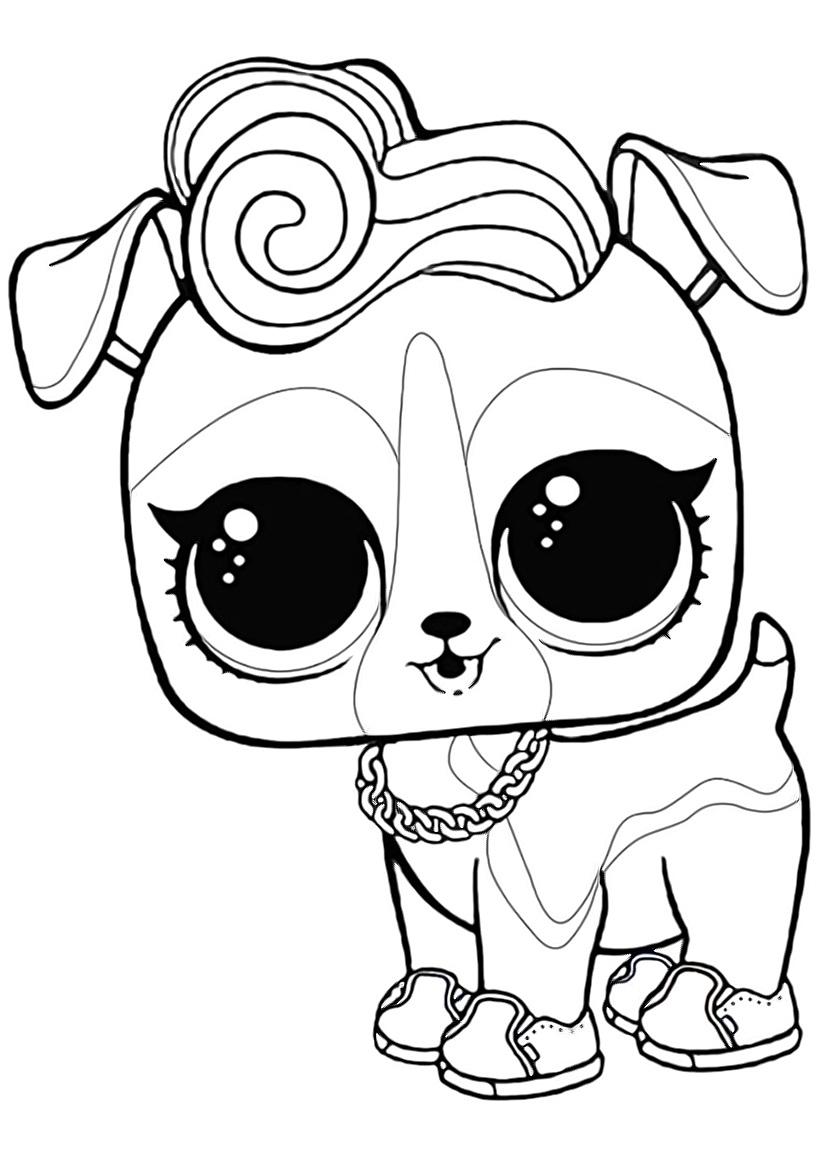 Раскраска ЛОЛ питомец щенок Ди-джей К9 распечатать или ...