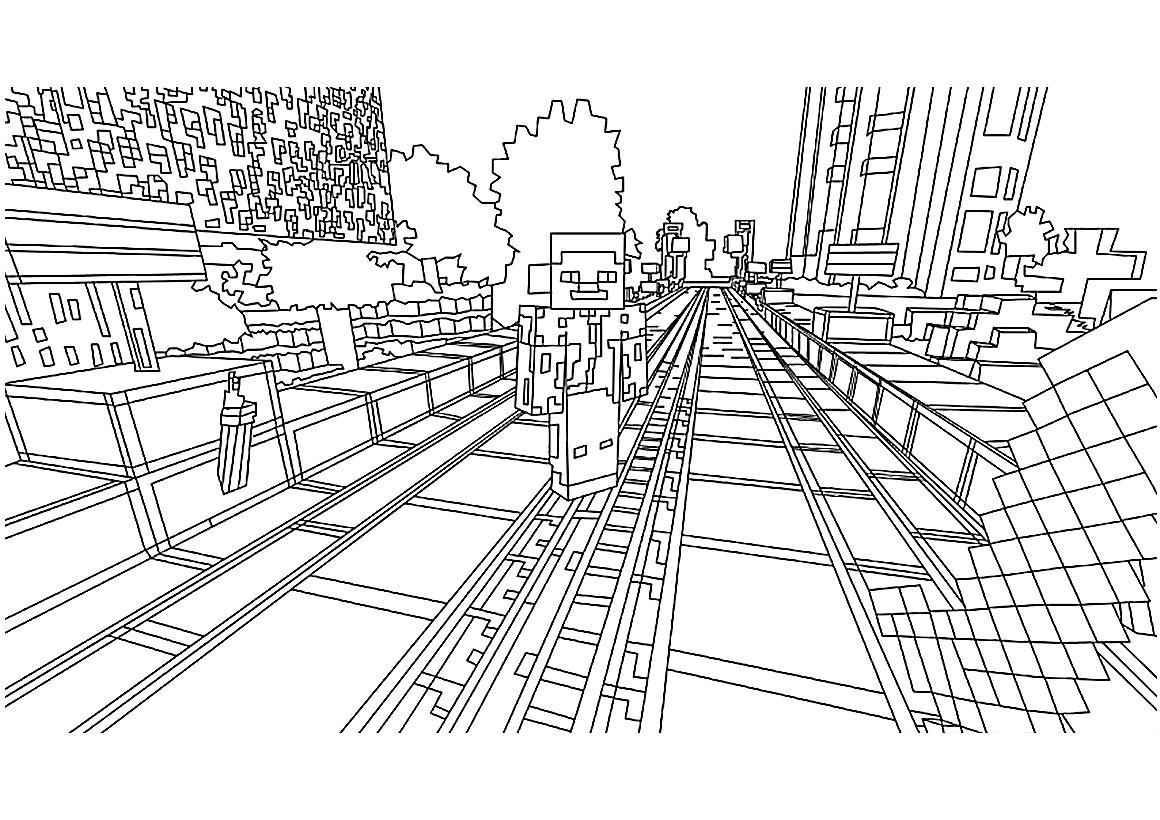раскраска город Minecraft распечатать или скачать бесплатно