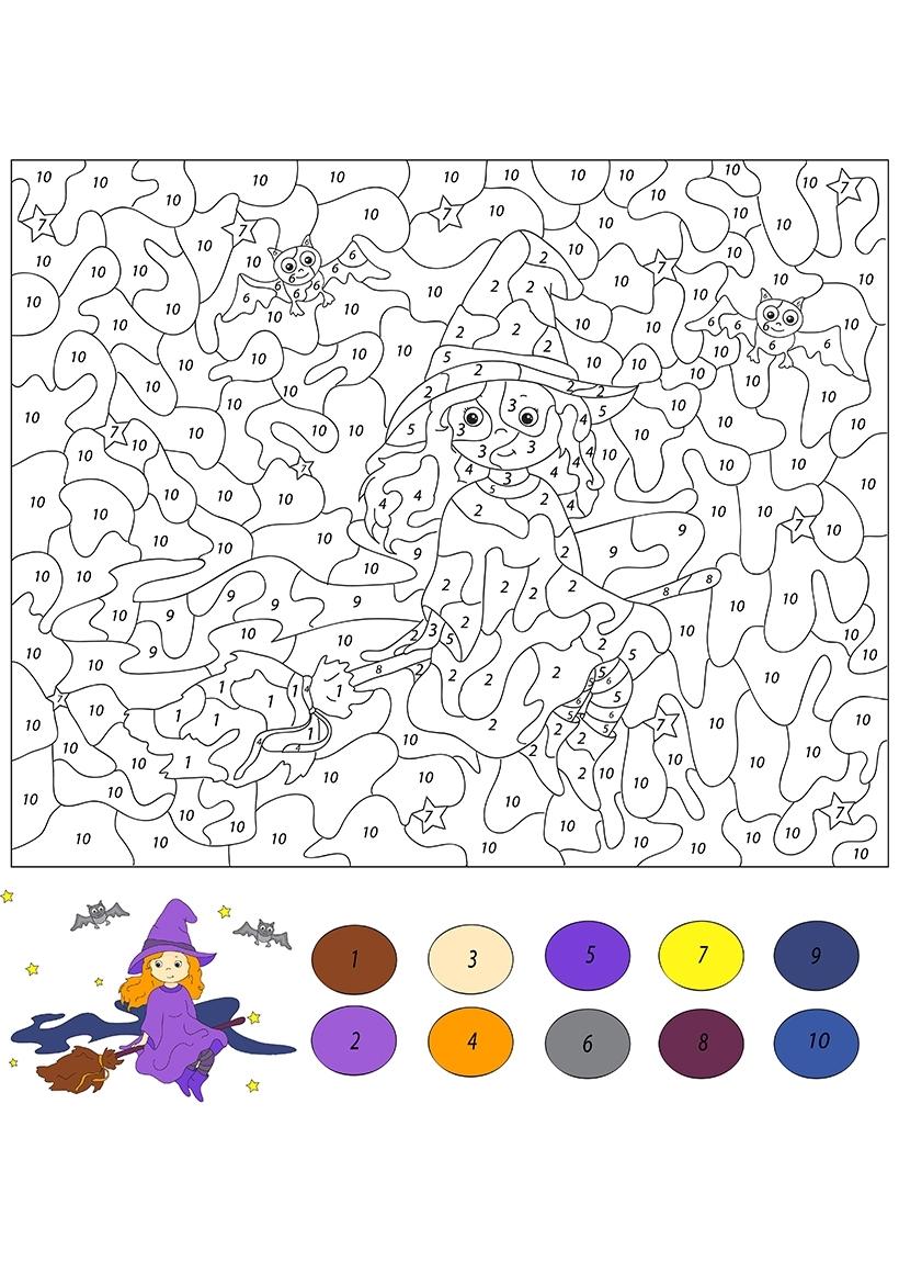 Раскраска Ведьмочка по цифрам распечатать или скачать ...
