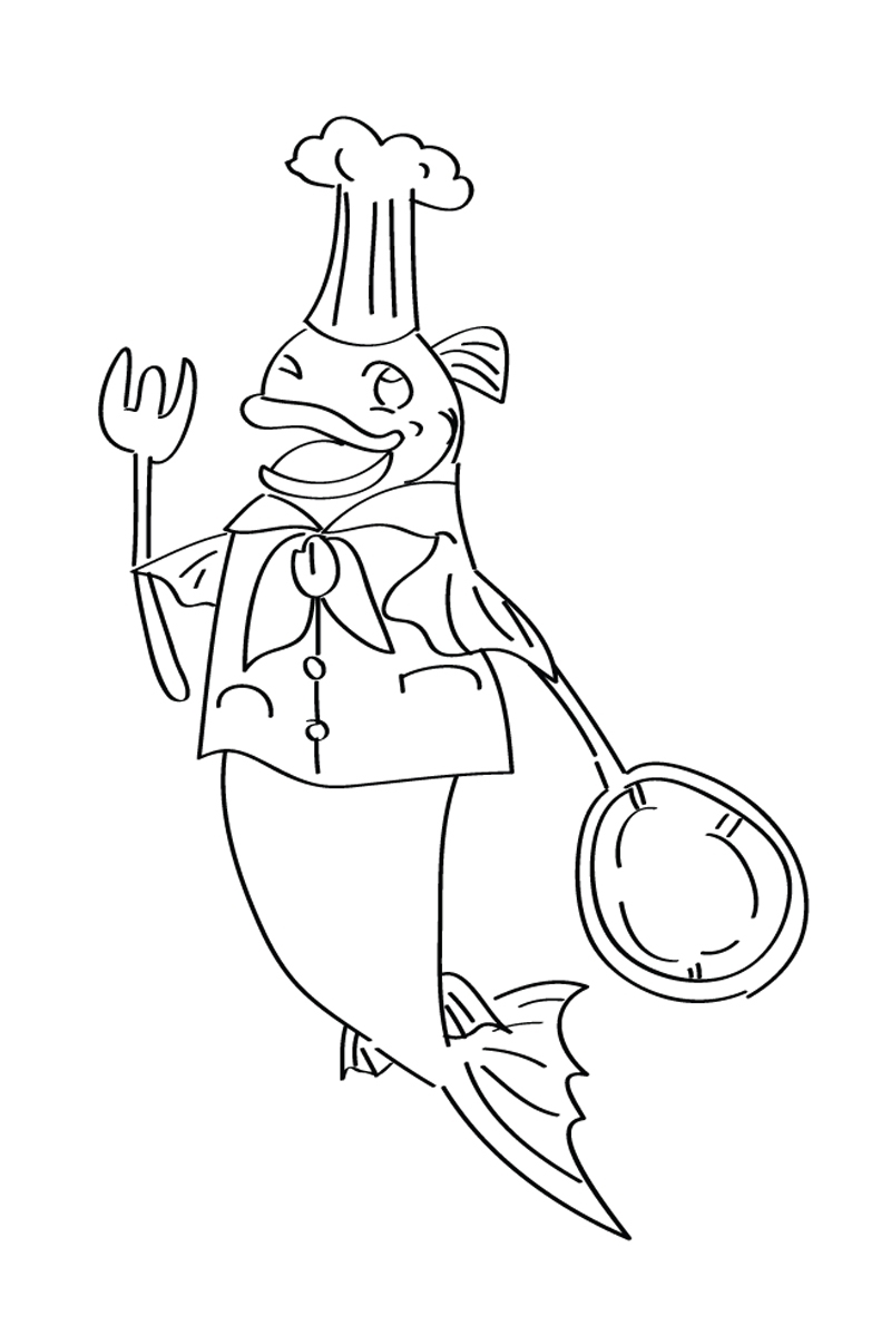 раскраска рыба повар распечатать или скачать бесплатно