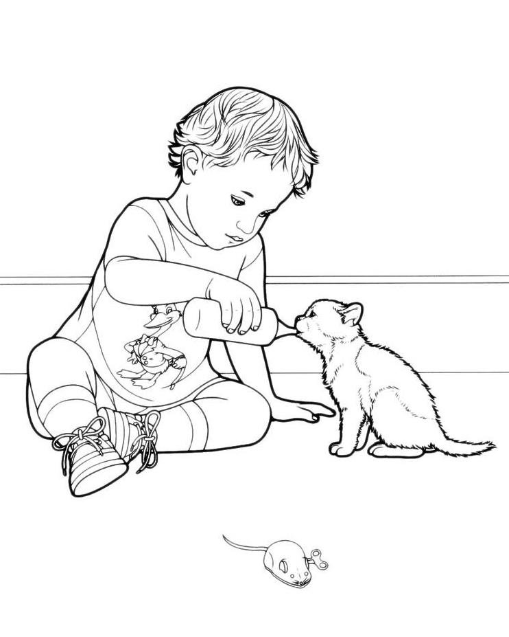 Раскраска Мальчик поит котёнка молоком распечатать или ...