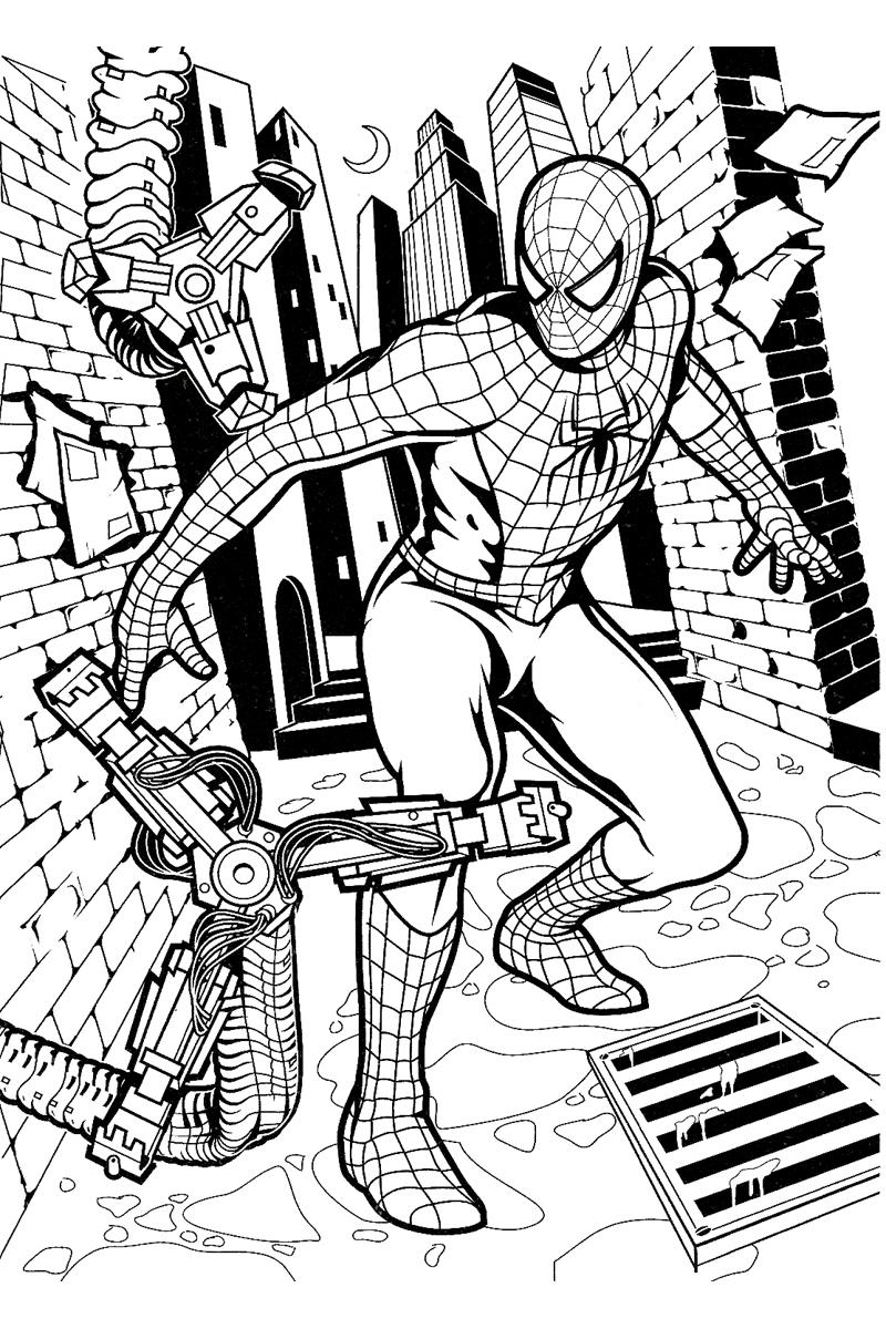 Раскраска Борьба Человека паука распечатать или скачать ...