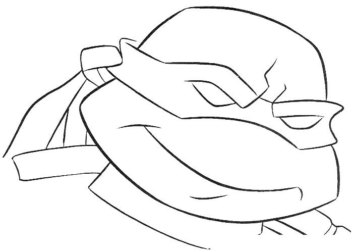 Раскраска Черепашка-Ниндзя усмехается распечатать или ...