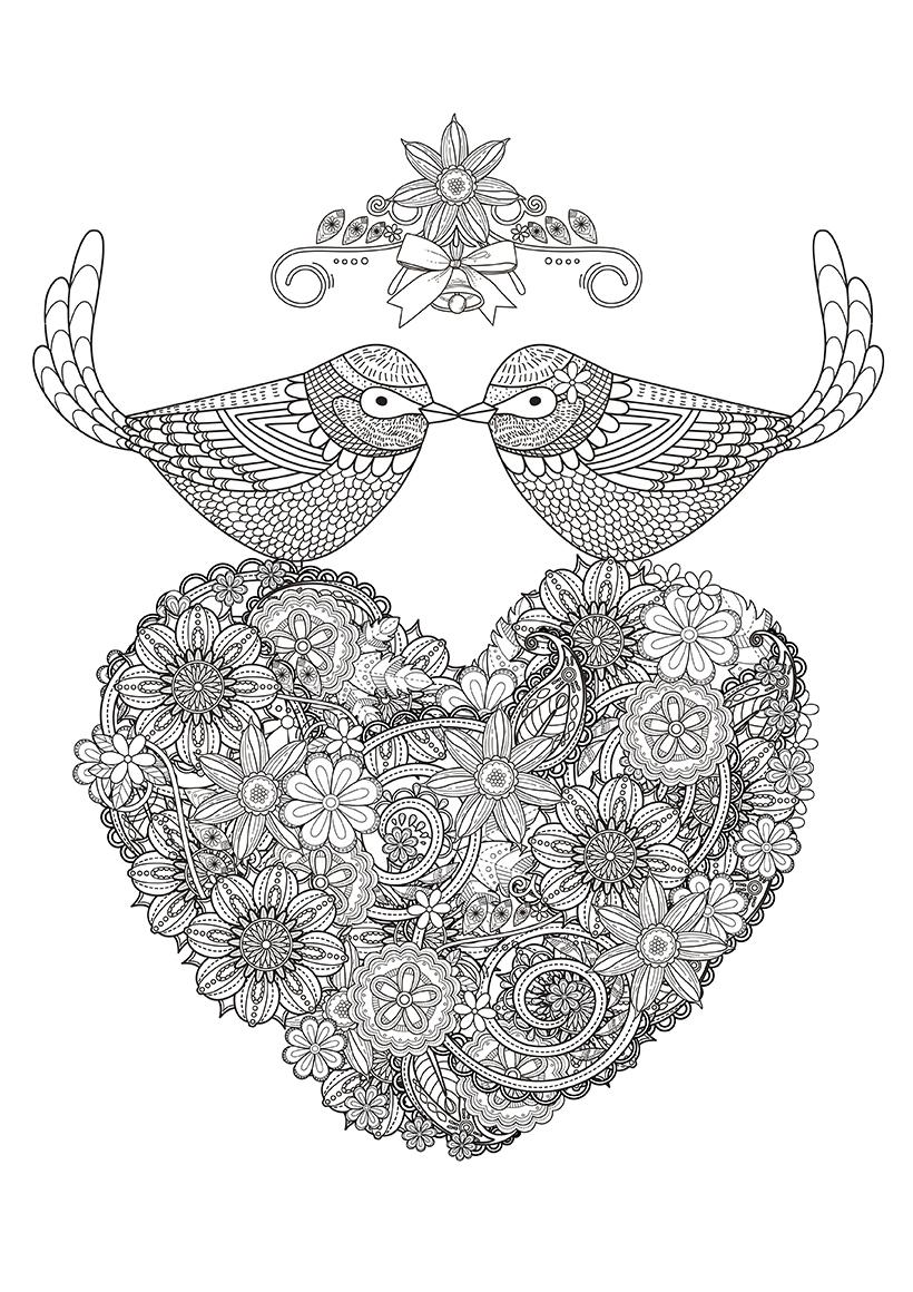 Раскраска Сердце и две птицы распечатать или скачать бесплатно