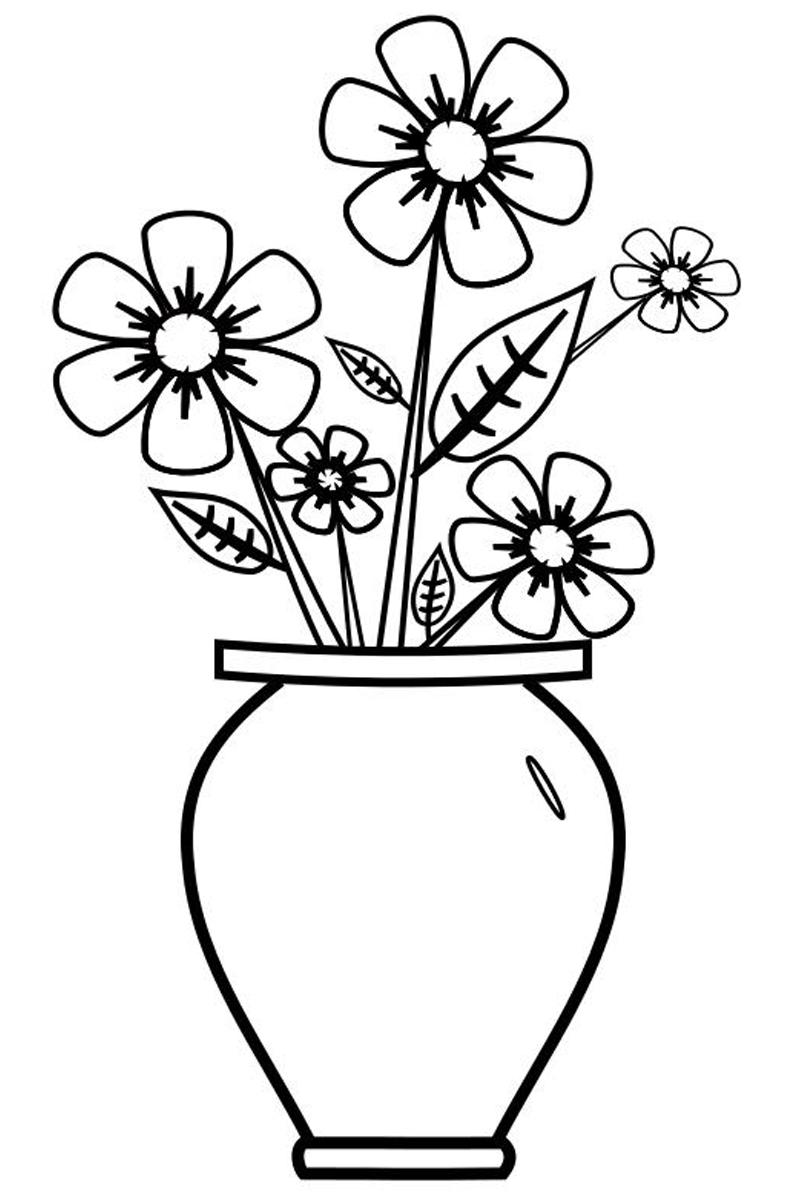 Раскраска Цветы в вазе распечатать или скачать бесплатно
