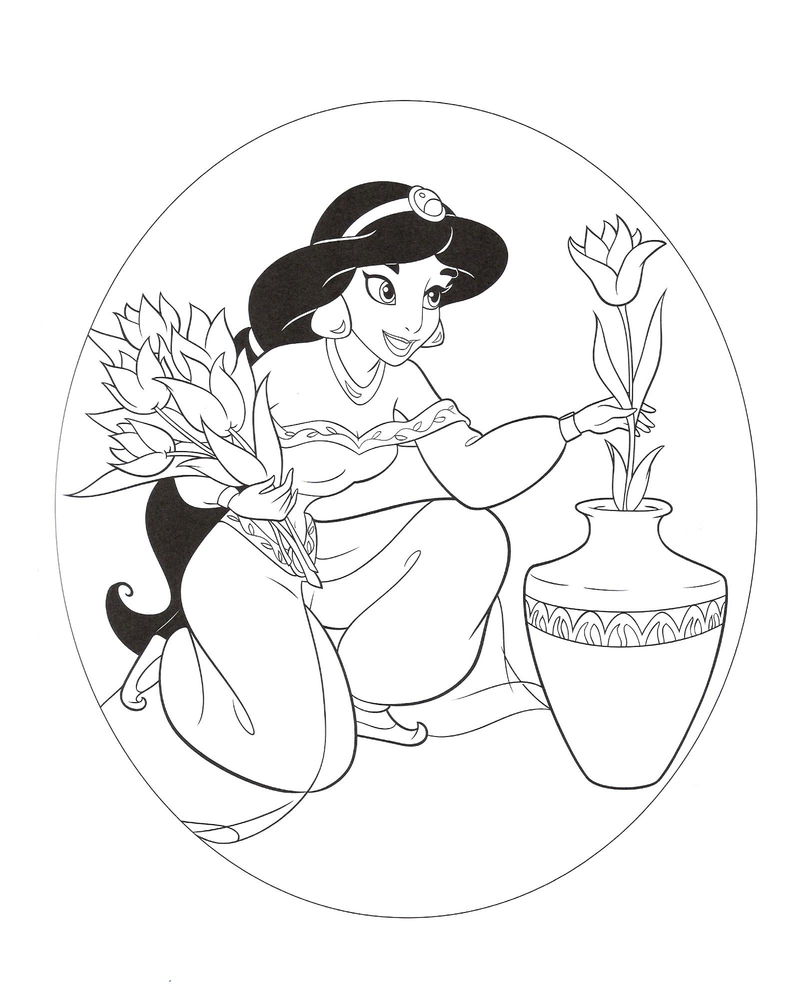 раскраска принцесса жасмин с цветами распечатать или скачать