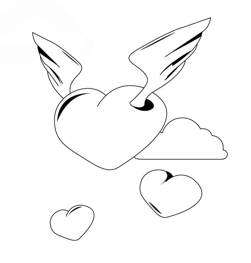 раскраска сердечко ангелочек и маленькие сердечки